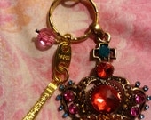 Crown Jewels, Eiffel Tower Keychain, Purse Car Charm Necklace pdt, Bling Vibrant Colors, Rhinestones Vintage Brass, Paris engraved