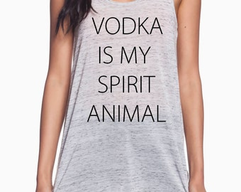 Vodka is my spirit animal ladies tank S-2XL