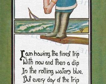 BY THE SEA, Girl Diving, Vintage Postcard Instant Digital Download