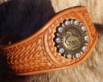 Hand Tooled Leather Bracelet with Concho