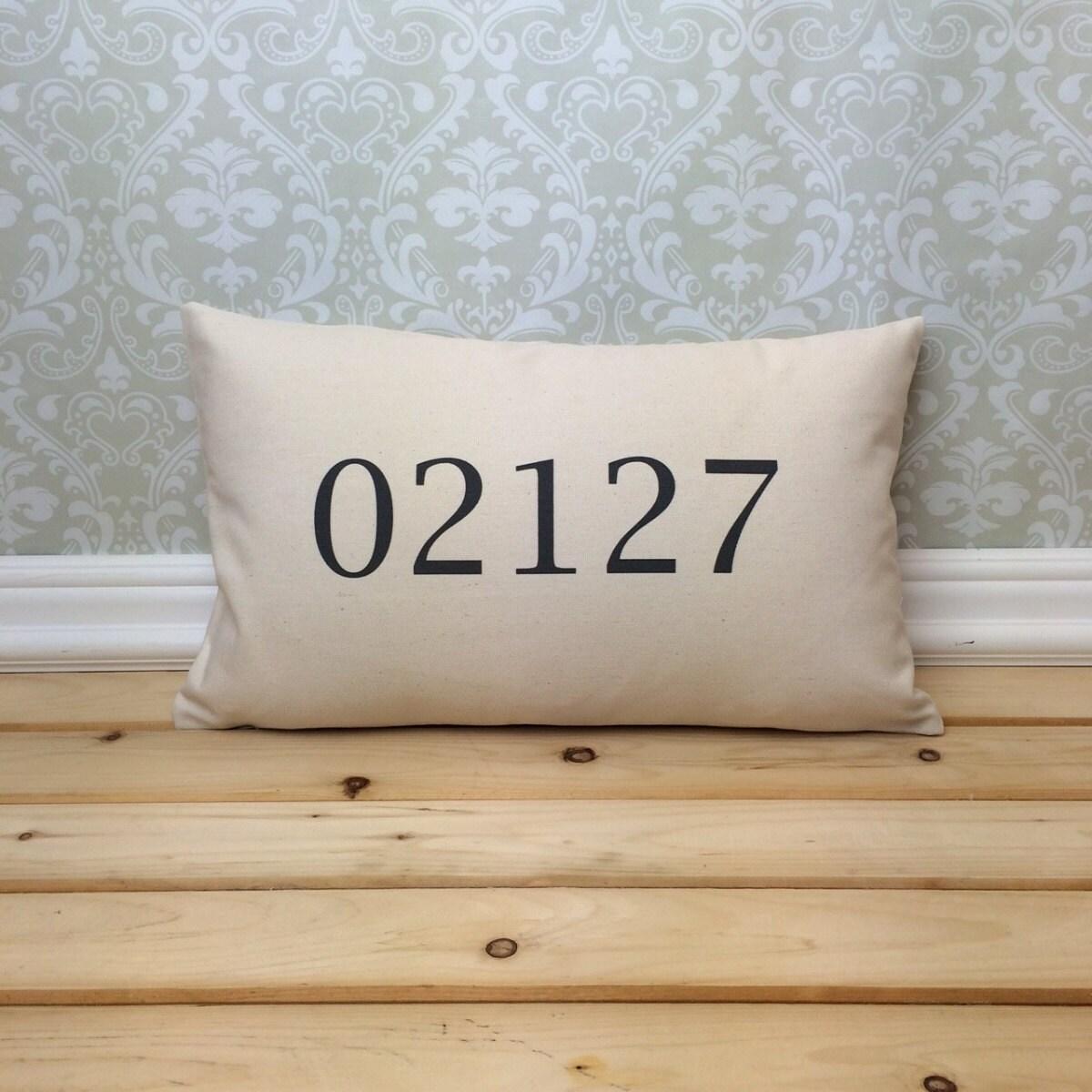 Zip code pillow long address home decor