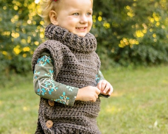 Crochet Pullover for toddlers and children - Child's Crochet Pullover - Toddler Child Sweater Poncho