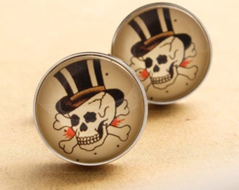 Skull Pirate Cufflinks - Stainless Steel Mens Sailor Jerry skull top hat Vintage Rockabilly Silver
