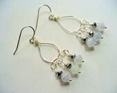 Chandelier Earrings, Black and White Beaded Dangle Earrings, Silver Earring, Long Dangle Earring, Womens Jewelry, Silver Earrings