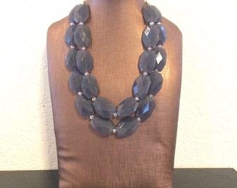 Gray Chunky Statement Necklace - Big beaded jewelry - Multi strand Smoke Necklace