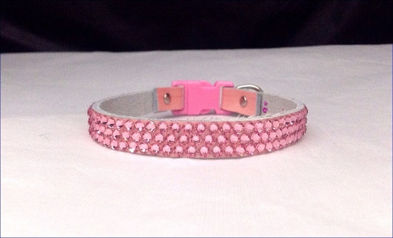 Pretty in Pink Leather Swarovski Crystal Rhinestone Pet Collar Breakaway Safety or Buckle Bling Baby Girl Lt Rose Pale Blush Kitty Cat Dog