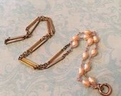 Vintage Chain for Antique Locket, Watch Chain Necklace Rose Gold, Silver & Pearls, Sweetheart Lane Original Design