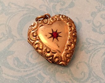 SALE Antique Heart Locket, Ornate Border, Red Stone, Old Photo and Hair, No Monogram, Gift for Her