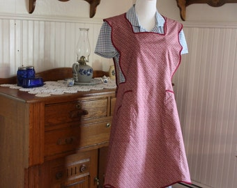 Burgundy Calico 1950's  Apron -Ready to Ship
