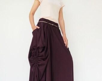 NO.123 Plum Cotton Jersey Mega Pocket Maxi Skirt