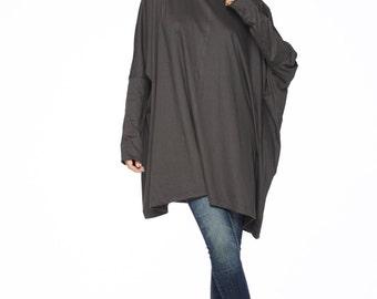 NO.62 Charcoal Cotton Jersey Oversized T-Shirt Tunic  Sweater, Women's Top