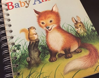 Baby Animals Little Golden Book Recycled Journal Notebook