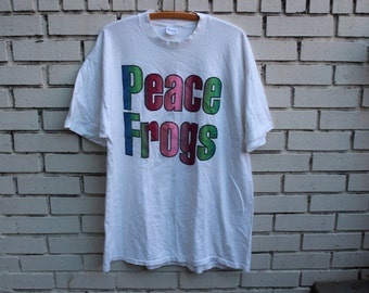 Vintage PEACE FROGS Shirt Stedman Tag 1980's Virginia Clothing Line peace love brand