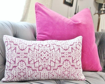 Purple Pink Moroccan Pillow Cover - Clarke & Clarke - Designer Throw - Radiant Orchid Woven Geometric Pillow - Motif Pillowss