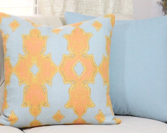 Moroccan Blue Pillow Cover - Orange Coral Medallion - Moroccan Geometric Pillow Cover - Motif Pillows - Linen Graphic Blue Pillow Cover