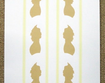No. 585 Victorian Lady Silhouette with Yellow Lines - limited edition screenprint