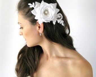Bridal Hair Accessory. Flower Headpiece. Bridal Flower Comb.