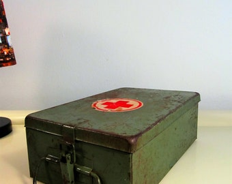 Vintage German Military Medical Red Cross First Aid Kit, Green Metal Kit, Small Medical Decor