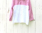Plus size clothing - upcycled tunic - one of a kind clothes - shabby chic blouse - loose fitting shirt  anthropologie inspired tunic eco clo