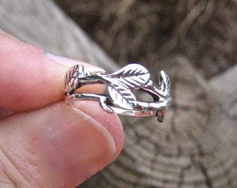 Vintage 925 Sterling Silver Leaf  Ring