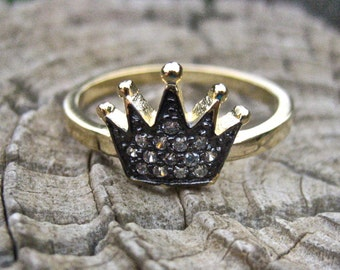 SALE Dainty Vintage 14K Gold Over 925 Sterling Silver CZ Crown Ring