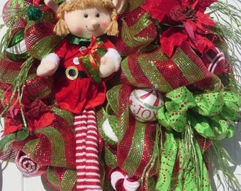 Christmas Wreath, Elf Wreath, Christmas Mesh Wreath, Christmas Door Wreath, Front Door Wreath Christmas, Double Door Wreath, Christmas