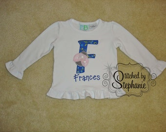 Baby girls monogrammed personalized light pink ladybug blue initial applique with name long sleeve ruffle shirt or bodysuit
