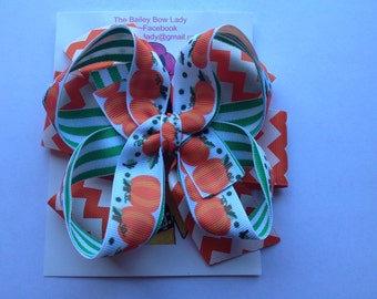 SALE-Ready to Ship Pumpkin Hair Bow