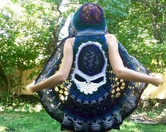 Grateful Dead Vest, Custom Crochet Steal Your Face Festival Clothing