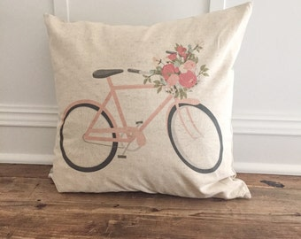 Pink Bicycle Pillow Cover