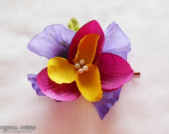Large Flower Hair Clip - Bobby Pin Base - Fabric Flower Hair Piece - Purple Violet and Yellow Flowers