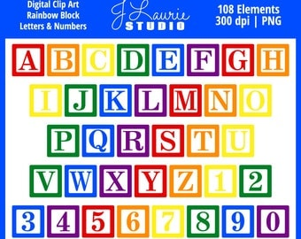 digital alphabet letters clipart rainbow block letters baby blocks numbers alphas scrapbook primary invitations instant download clip art
