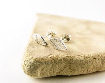 Tiny Ear Studs - Delicate Leaf Stud Earrings - Silver Leaf Earrings - Bridal Jewelry - Handmade Earrings - Gifts for Mum - Woodland Jewelry