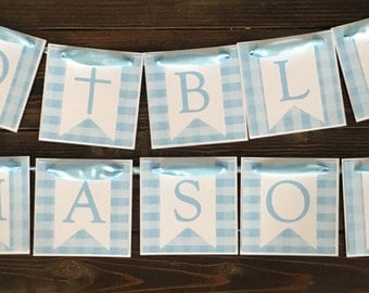 Light Blue Baptism Banner, Gingham God Bless Banner, Christening, First Communion
