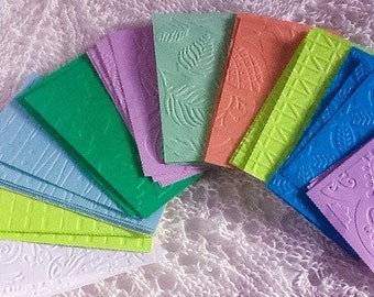 44 pieces - Assortment of colorful embossed paper mats - pastels - brights - scrapbooking - card making - cards and crafts