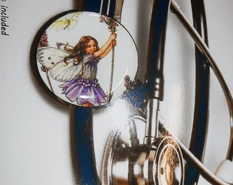 Nurse ID Badge - Cute Nurse ID Tag - Flower Fairy - Lavender Flower Fairy -  Stethoscope ID Tag - IDR304