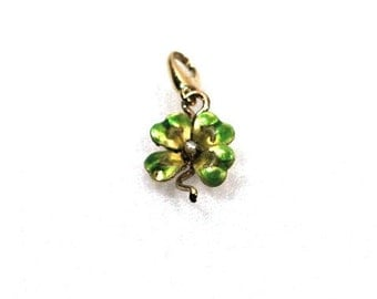 Vintage Enamel 14k Gold and Pearl Shamrock Charm Pendant Necklace