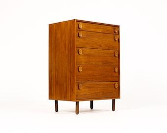 Danish Modern / Mid Century Teak Upright Chest of Drawers / Dresser — Oval Pulls — Five Drawer