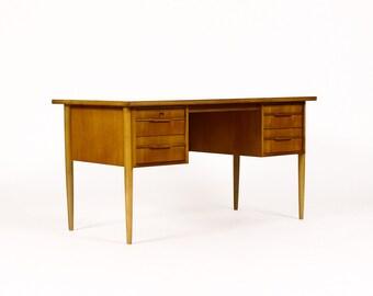 Danish modern / Mid Century Large Teak Desk — Four Drawers — Thin pulls
