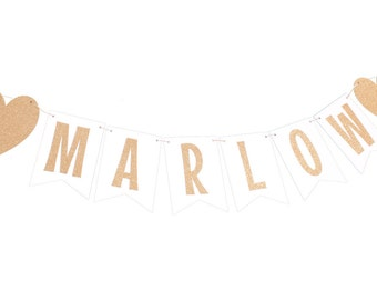 White and Gold Name Banner - White and Gold Flag Banner - White and Gold Shower - White and Gold Birthday - White and Gold Nursery