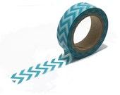 Washi Tape, Japanese Tape, Aqua Chevron, Aqua Washi Tape, Decorative Tape, Party Tape, Wedding Tape, Tape Embellishment