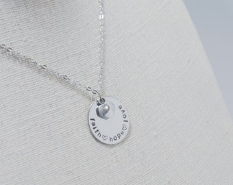Disk Necklace - Faith Hope Love Necklace - Hand Stamped - Heart Charm - Faith