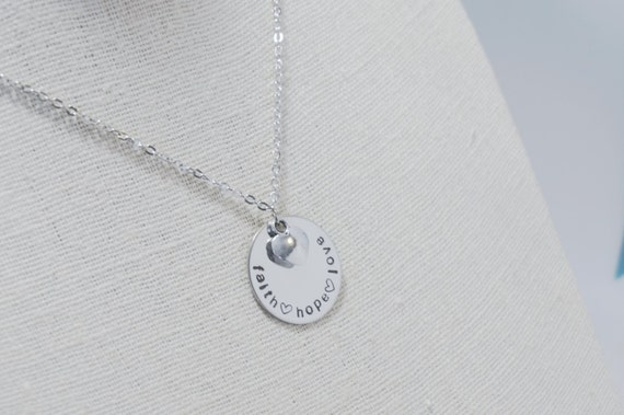 Disk necklace faith hope love necklace hand stamped for Faith hope love jewelry