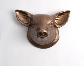 The Hamlet   Bronze Faux Pig Head   Farmhouse Wall Decor   Pig Decor    Kitchen