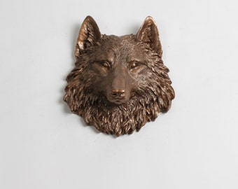 Bronze Wolf Head Wall Decor : The Ewan Faux Wolf Head by White Faux Taxidermy - Bronze Mini Resin Wolf Head - Chic Grey Wolf / Coyote Bust