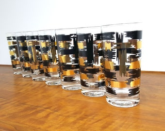 Set of 7 Black and Gold Drinking Glasses