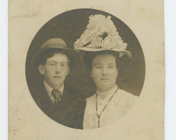 Oscar & Nettie, c1910s Vintage RPPC Photo (66476)
