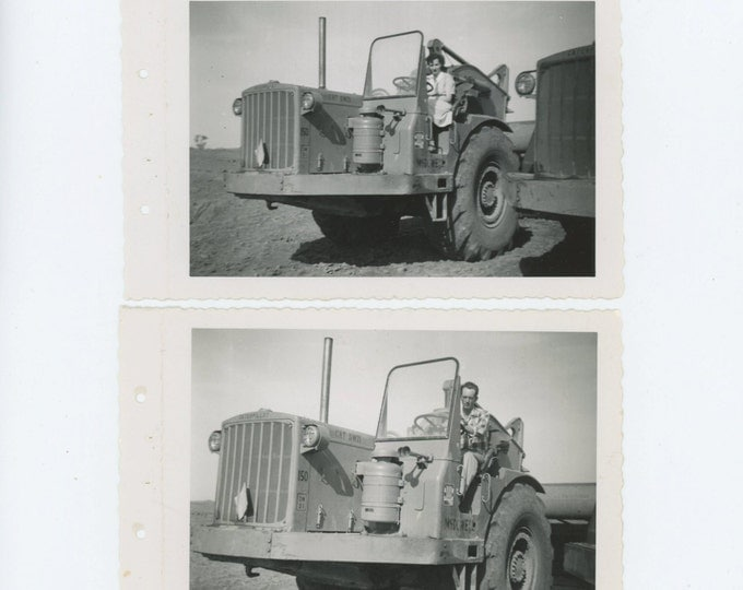 Man & Woman Take Turns on Caterpillar DW 21 Scraper c1940s Vintage Snapshot Photo [71480]