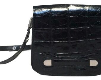 Designer Vintage Black Alligator Saddle Shoulder Bag