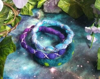 Felted wool cosmic forest bracelets